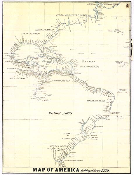 1529 Ribero Map of America