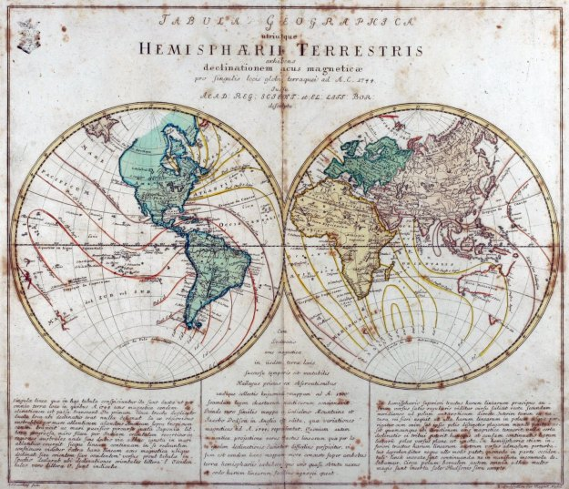 1753 Euler World Map published 1760 [1st published 1753 refers to magnetic readings 1744]