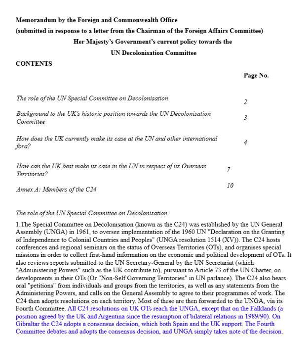 Memorandum by the Foreign and Commonwealth Office: HMGs current policy towards the UN Decolonization Committee 2010