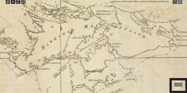 MacBride's 1766 survey enlarged. Chart reproduced in Hawkesworth's Voyages vol.1 1773