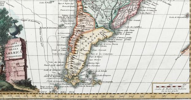 1750 Carta Geografica del la America Meridionale (Giovambattista Albrizzi)